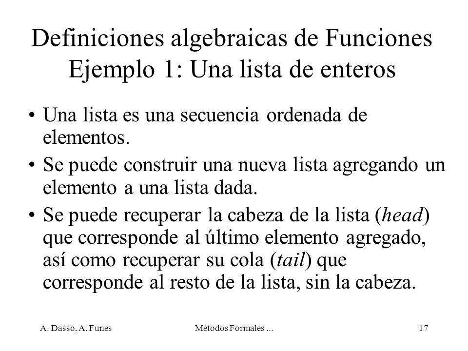 Definiciones algebraicas de Funciones Ejemplo 1: Una lista de enteros