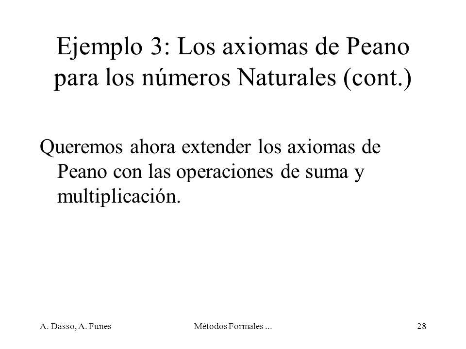 Ejemplo 3: Los axiomas de Peano para los números Naturales (cont.)