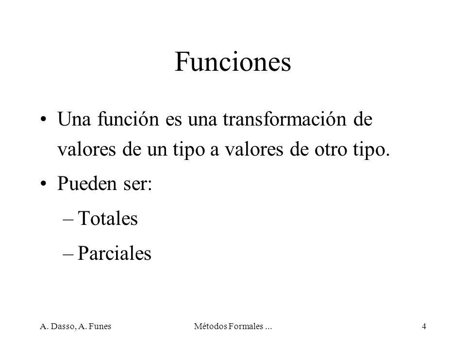 Funciones Una función es una transformación de valores de un tipo a valores de otro tipo. Pueden ser: