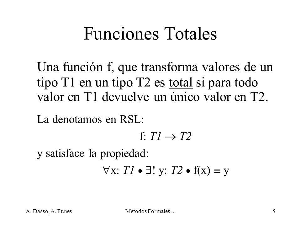 Funciones Totales Una función f, que transforma valores de un tipo T1 en un tipo T2 es total si para todo valor en T1 devuelve un único valor en T2.