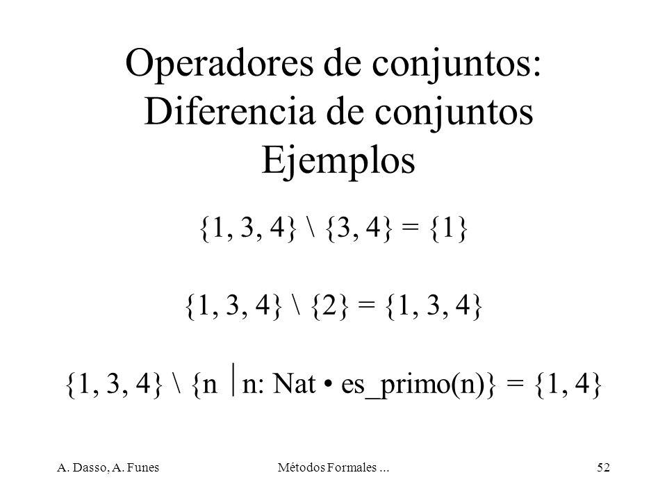 Operadores de conjuntos: Diferencia de conjuntos Ejemplos