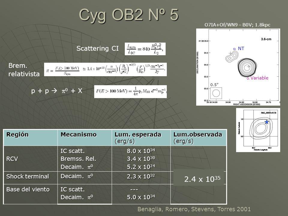 Cyg OB2 Nº 5 2.4 x 1035 Scattering CI Brem. relativista p + p  p0 + X