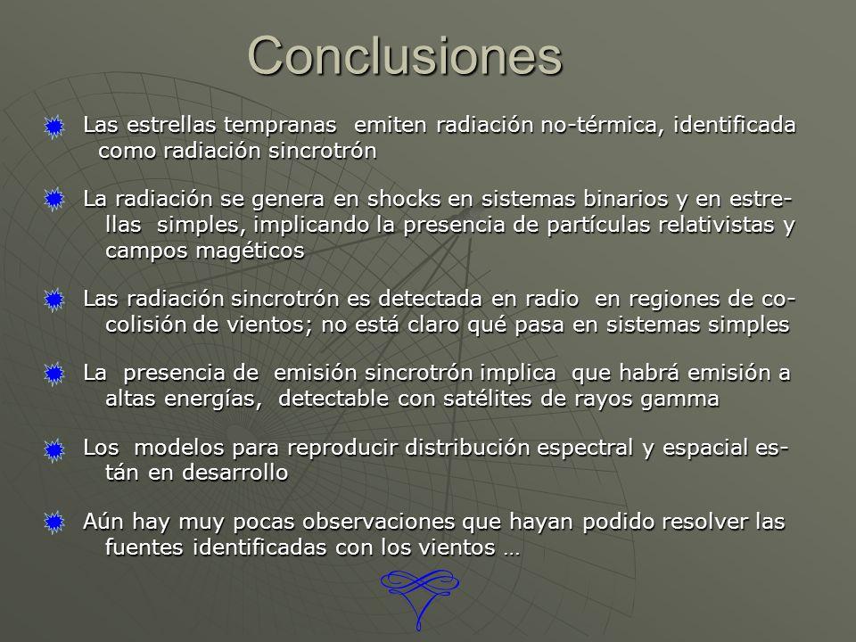 Conclusiones Las estrellas tempranas emiten radiación no-térmica, identificada. como radiación sincrotrón.