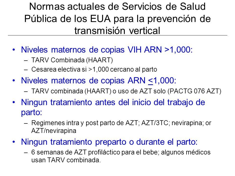 Normas actuales de Servicios de Salud Pública de los EUA para la prevención de transmisión vertical