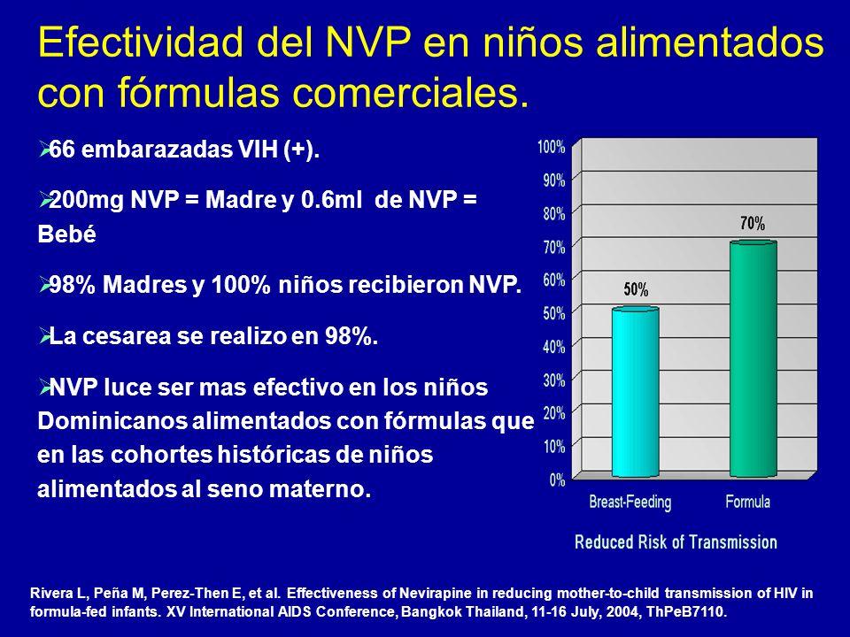 Efectividad del NVP en niños alimentados con fórmulas comerciales.