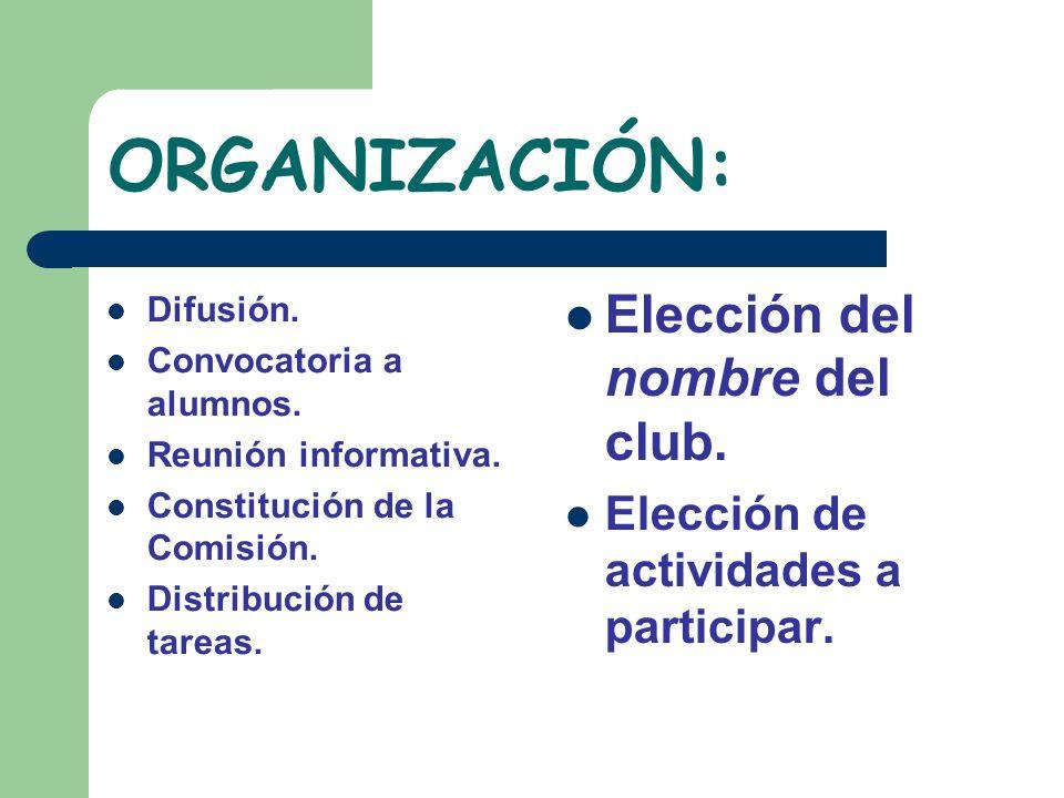 ORGANIZACIÓN: Elección del nombre del club.