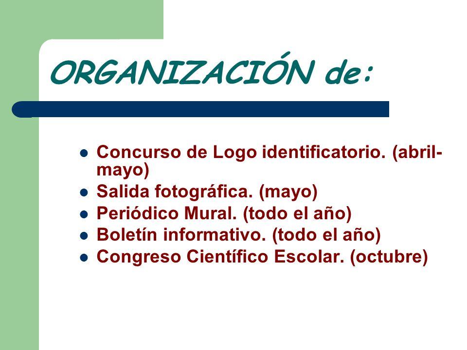 ORGANIZACIÓN de: Concurso de Logo identificatorio. (abril-mayo)