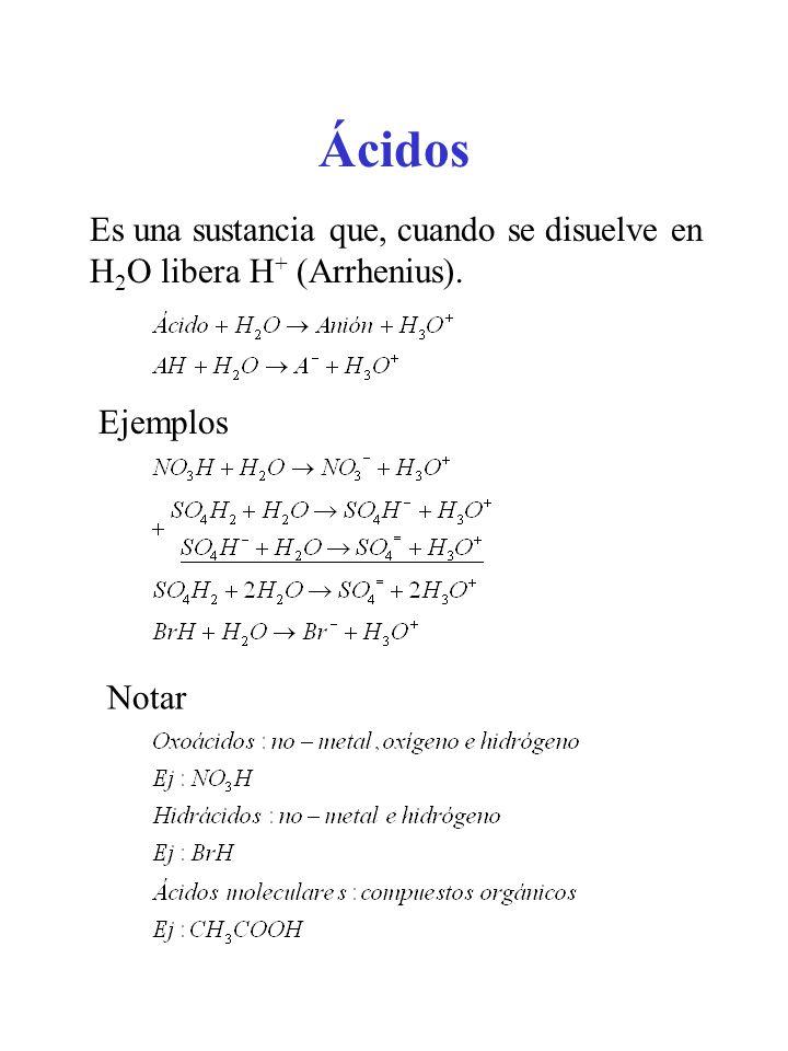 Ácidos Es una sustancia que, cuando se disuelve en H2O libera H+ (Arrhenius). Ejemplos Notar