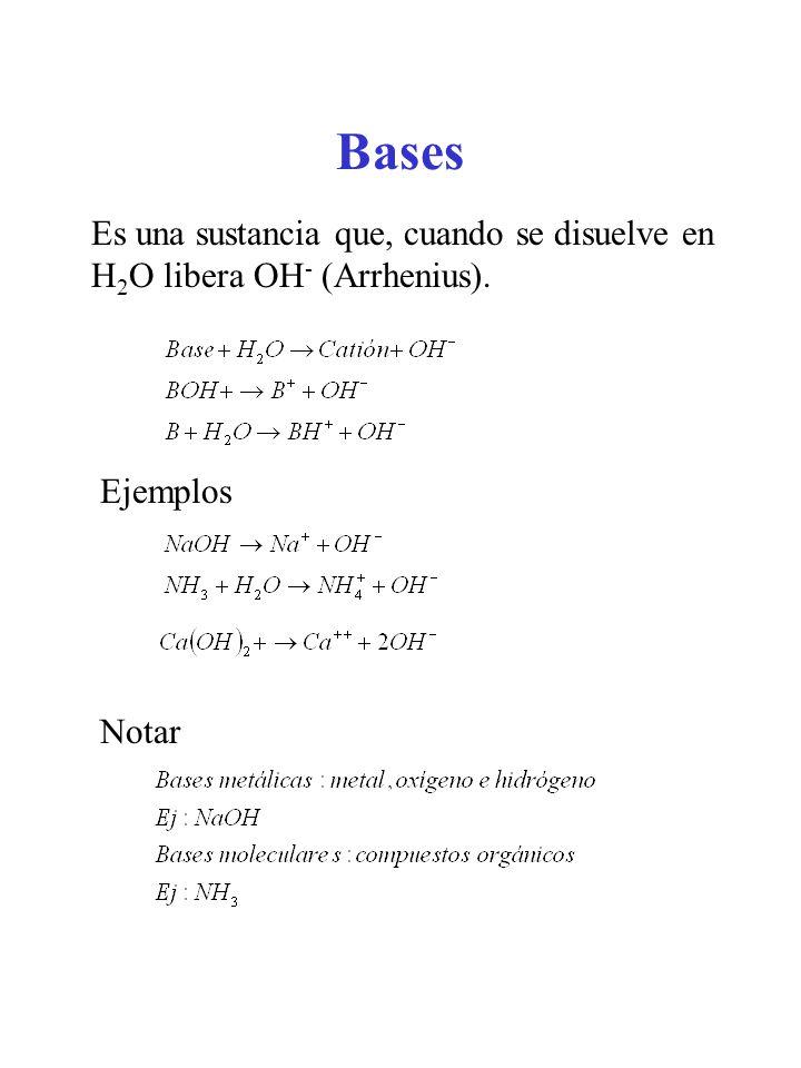 Bases Es una sustancia que, cuando se disuelve en H2O libera OH- (Arrhenius). Ejemplos Notar