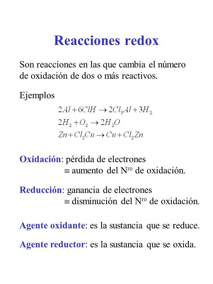 Reacciones redox Son reacciones en las que cambia el número de oxidación de dos o más reactivos. Ejemplos.