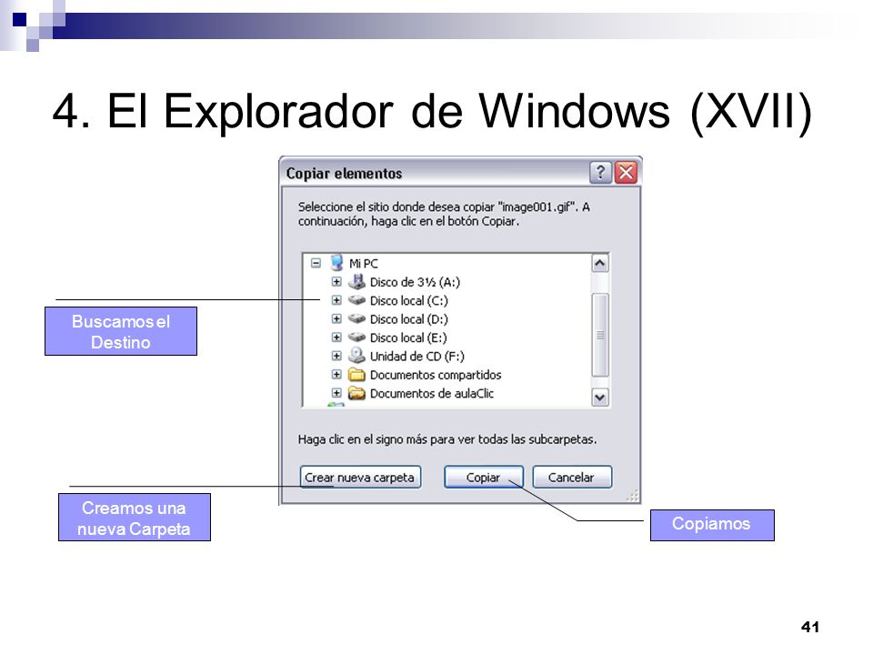 4. El Explorador de Windows (XVII)