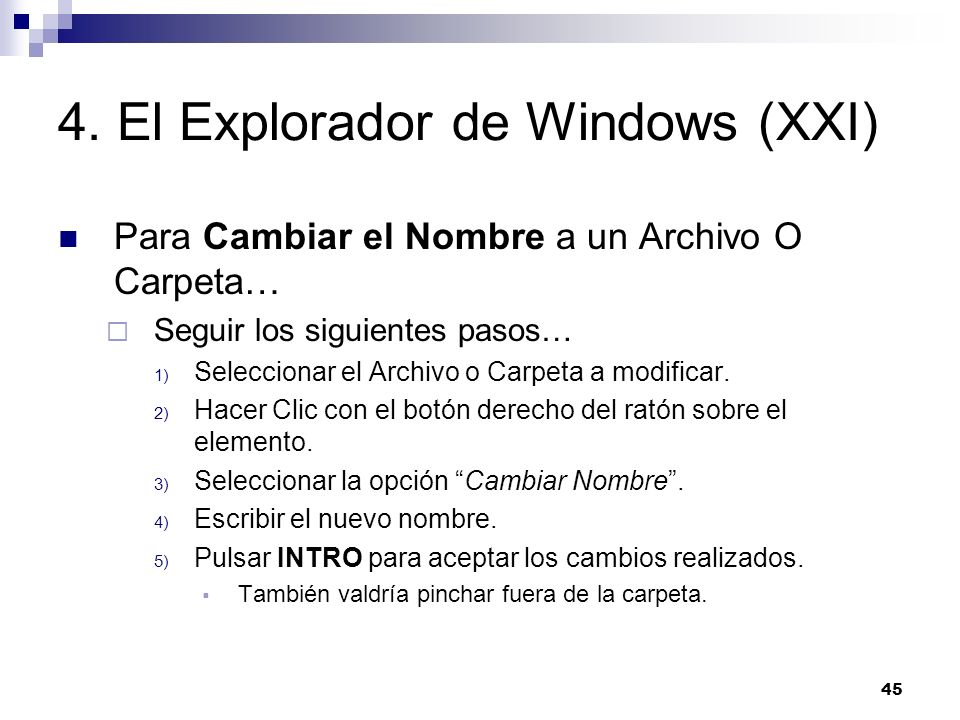 4. El Explorador de Windows (XXI)