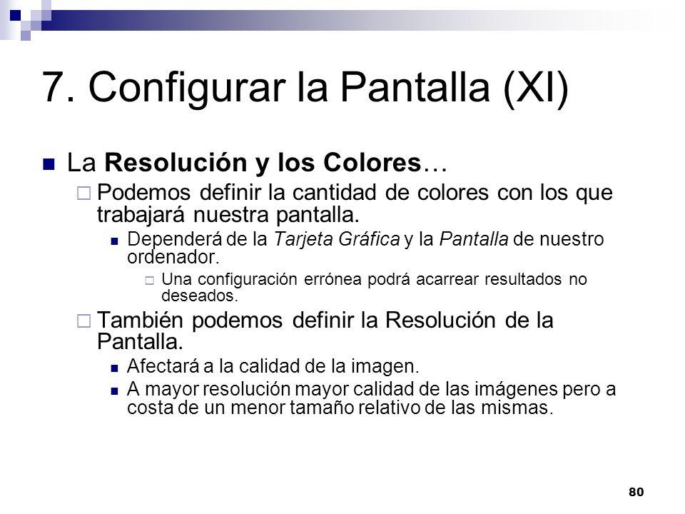 7. Configurar la Pantalla (XI)