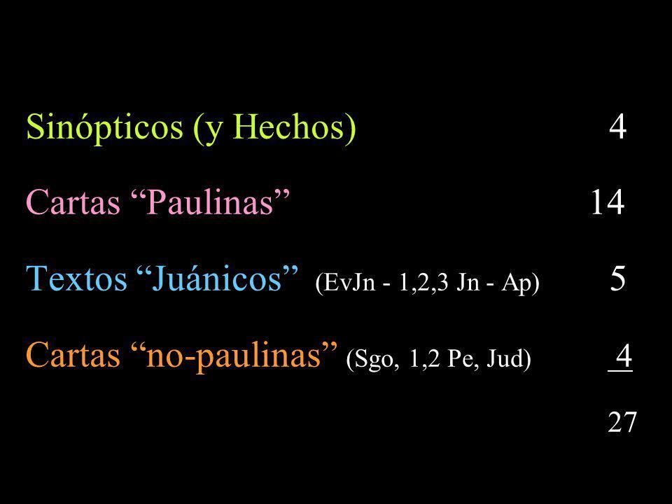 Sinópticos (y Hechos) 4 Cartas Paulinas 14.