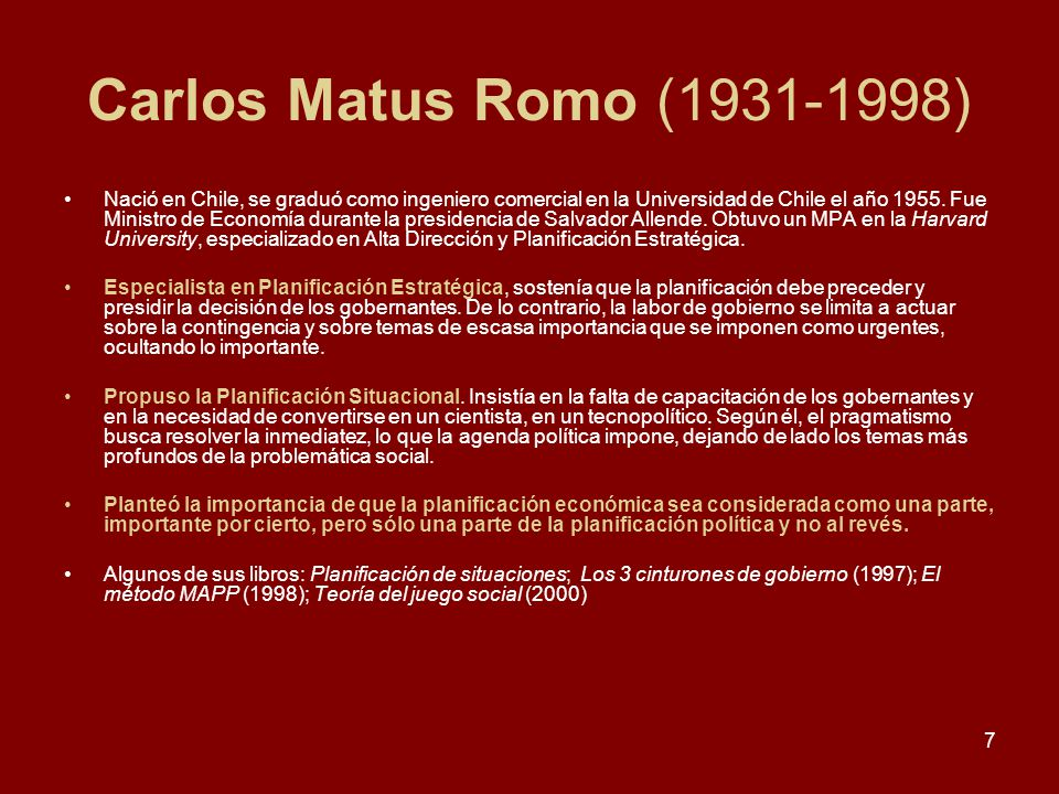 Carlos Matus Romo (1931-1998)
