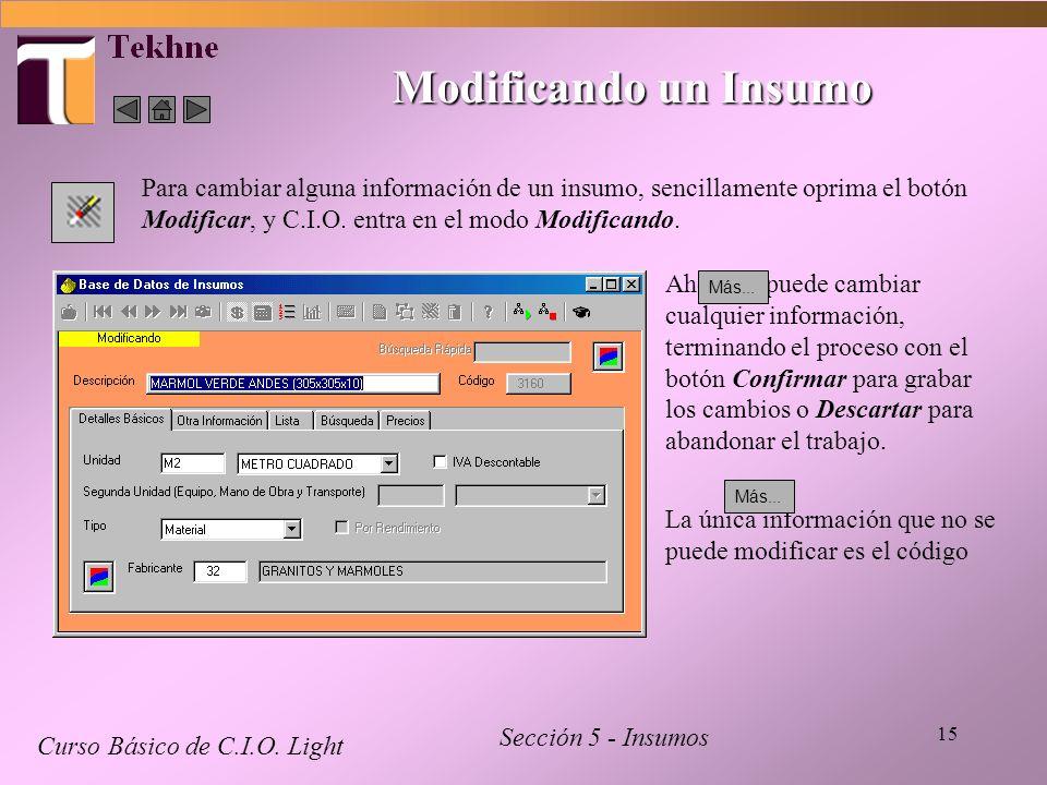 Modificando un Insumo Para cambiar alguna información de un insumo, sencillamente oprima el botón Modificar, y C.I.O. entra en el modo Modificando.