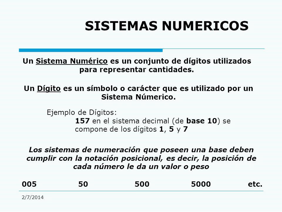 SISTEMAS NUMERICOS Un Sistema Numérico es un conjunto de dígitos utilizados. para representar cantidades.