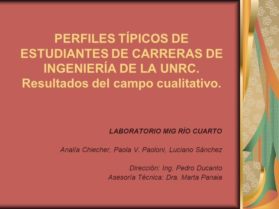PERFILES TÍPICOS DE ESTUDIANTES DE CARRERAS DE INGENIERÍA DE LA UNRC