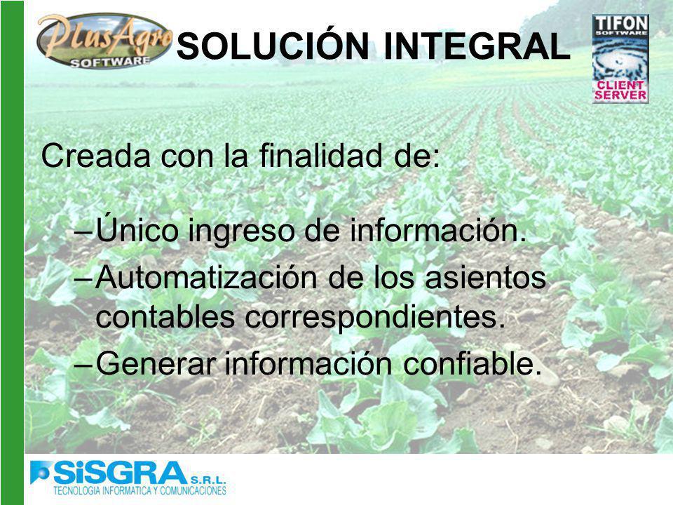 SOLUCIÓN INTEGRAL Creada con la finalidad de: