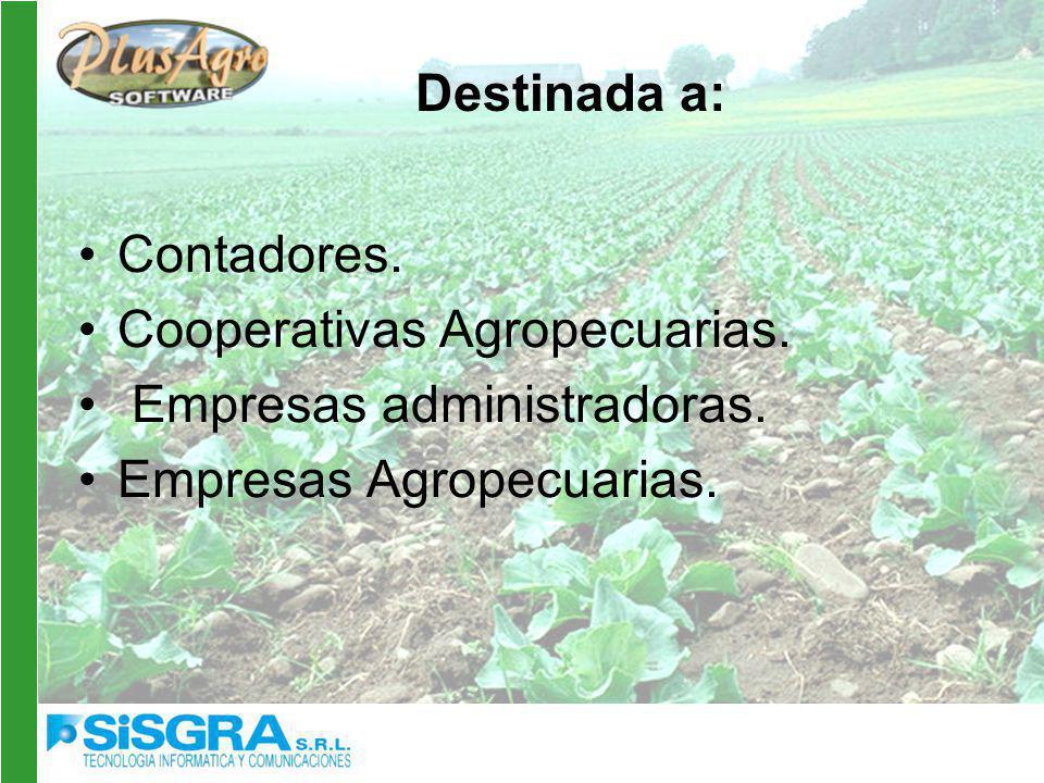 Destinada a: Contadores. Cooperativas Agropecuarias.