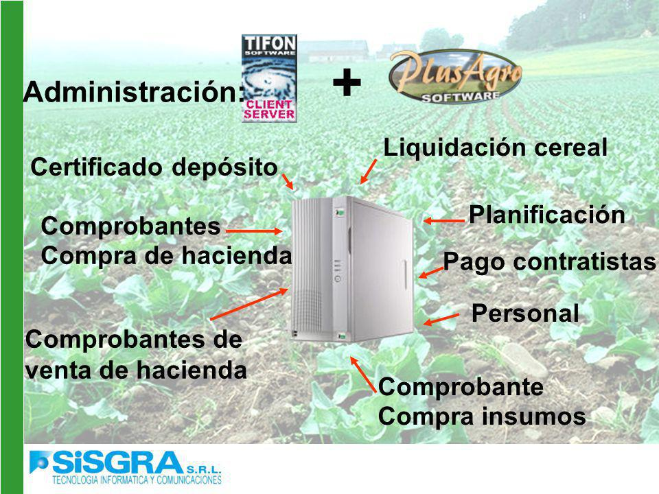 Administración: Liquidación cereal Certificado depósito Planificación