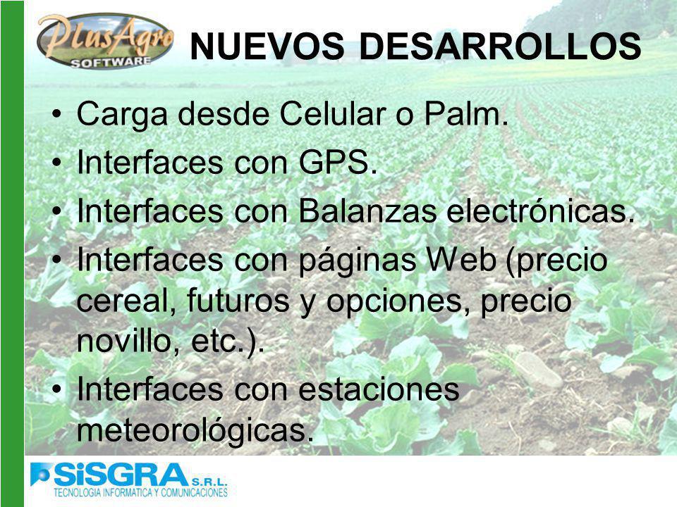 NUEVOS DESARROLLOS Carga desde Celular o Palm. Interfaces con GPS.