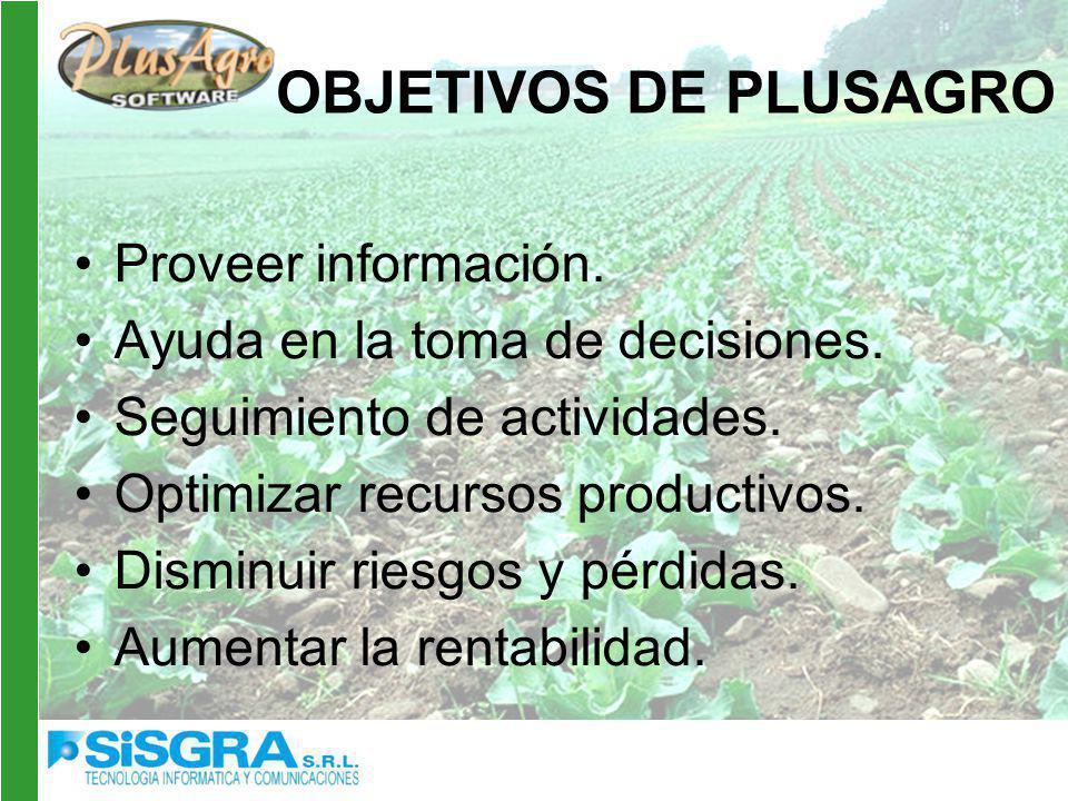 OBJETIVOS DE PLUSAGRO Proveer información.