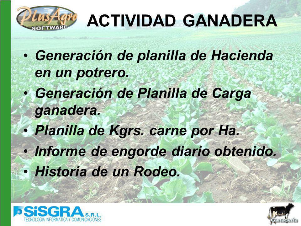 ACTIVIDAD GANADERA Generación de planilla de Hacienda en un potrero.