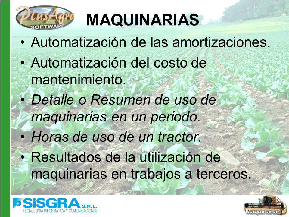 MAQUINARIAS Automatización de las amortizaciones.