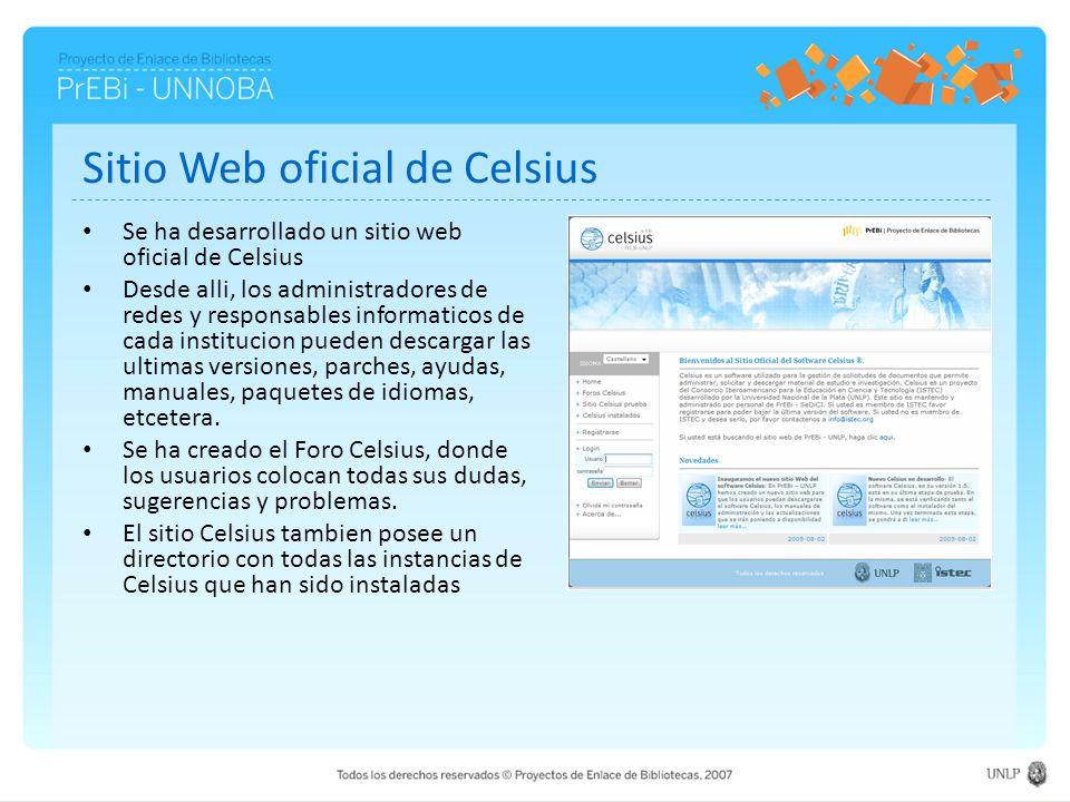 Sitio Web oficial de Celsius