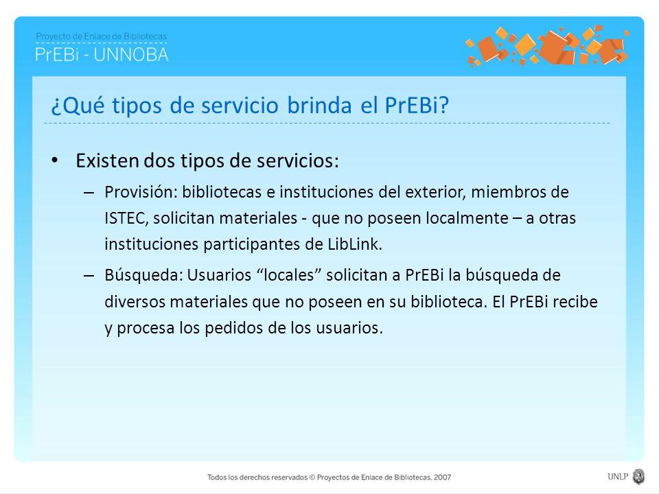 ¿Qué tipos de servicio brinda el PrEBi