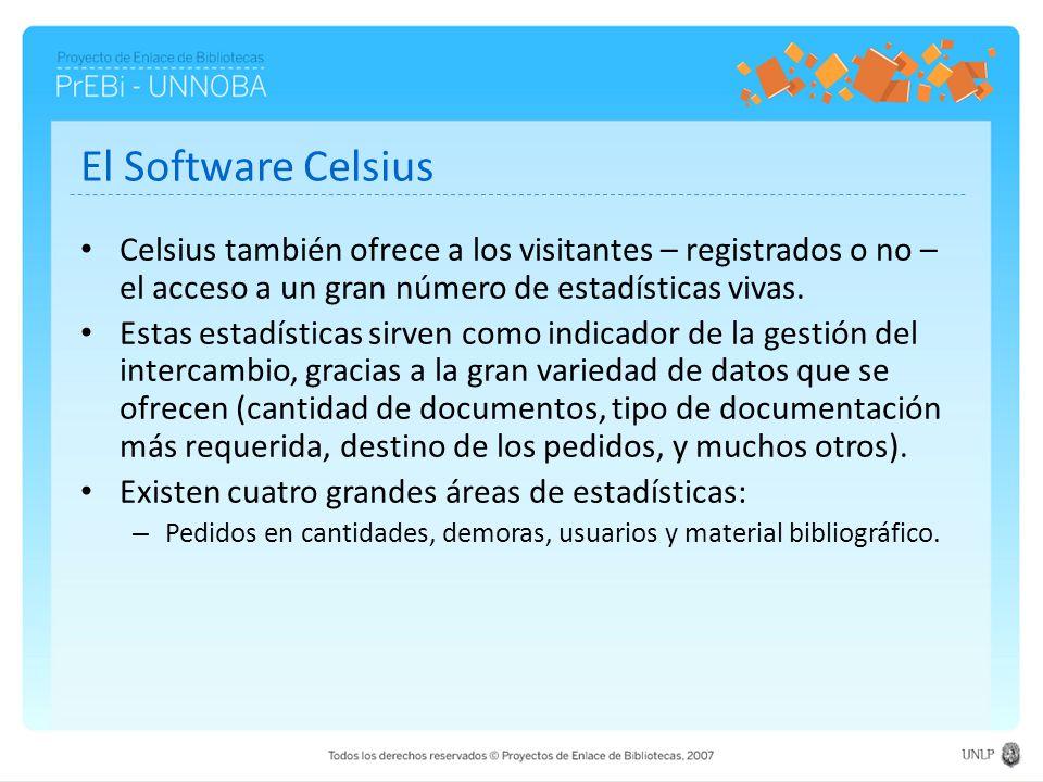 El Software Celsius Celsius también ofrece a los visitantes – registrados o no – el acceso a un gran número de estadísticas vivas.
