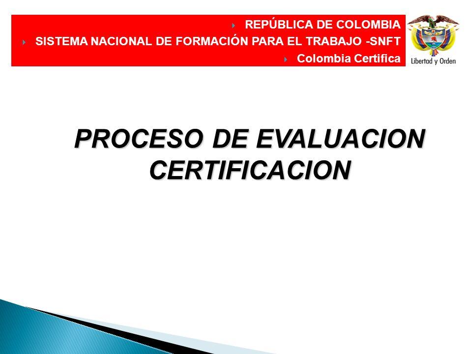 PROCESO DE EVALUACION CERTIFICACION