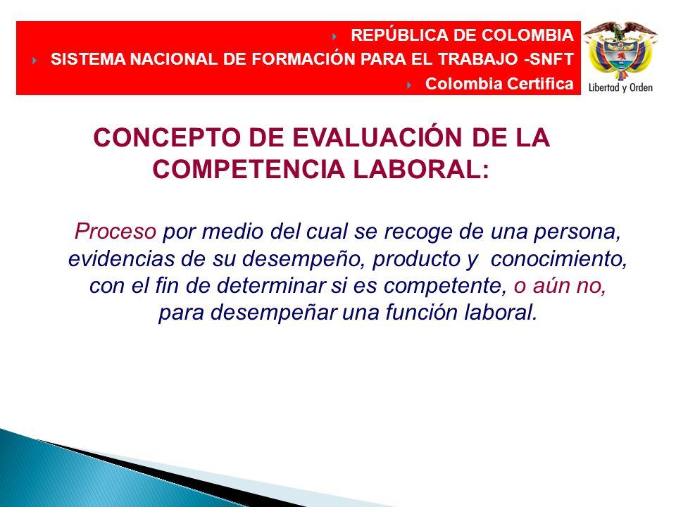 CONCEPTO DE EVALUACIÓN DE LA COMPETENCIA LABORAL: