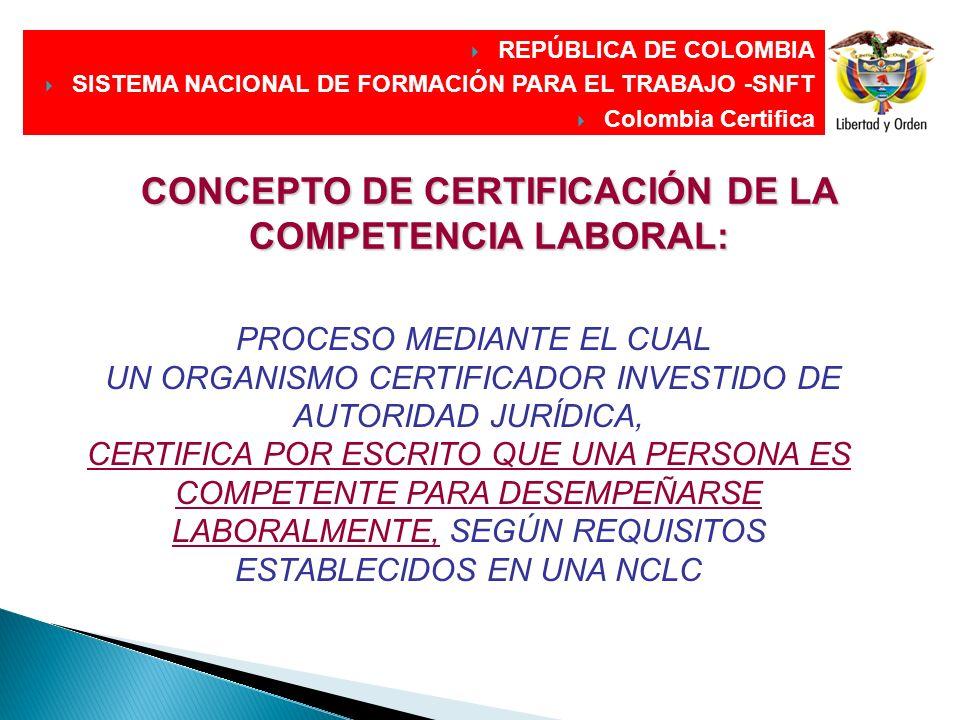 CONCEPTO DE CERTIFICACIÓN DE LA COMPETENCIA LABORAL: