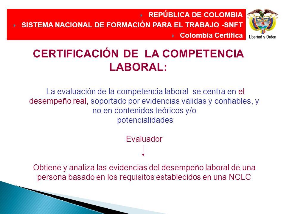 CERTIFICACIÓN DE LA COMPETENCIA LABORAL: