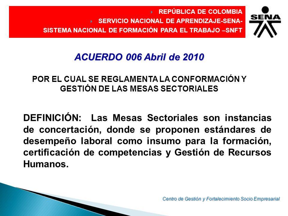 GESTIÓN DE LAS MESAS SECTORIALES