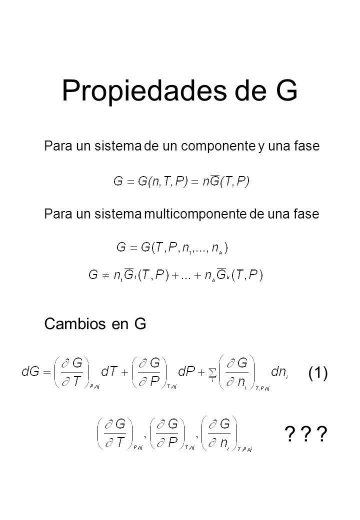 Propiedades de G Cambios en G (1)