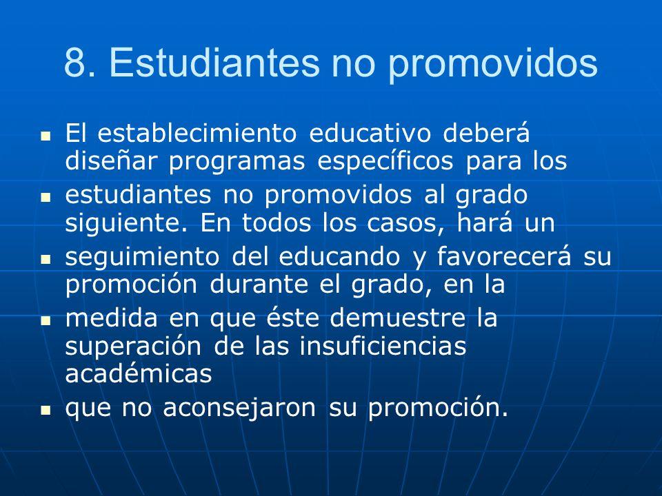 8. Estudiantes no promovidos