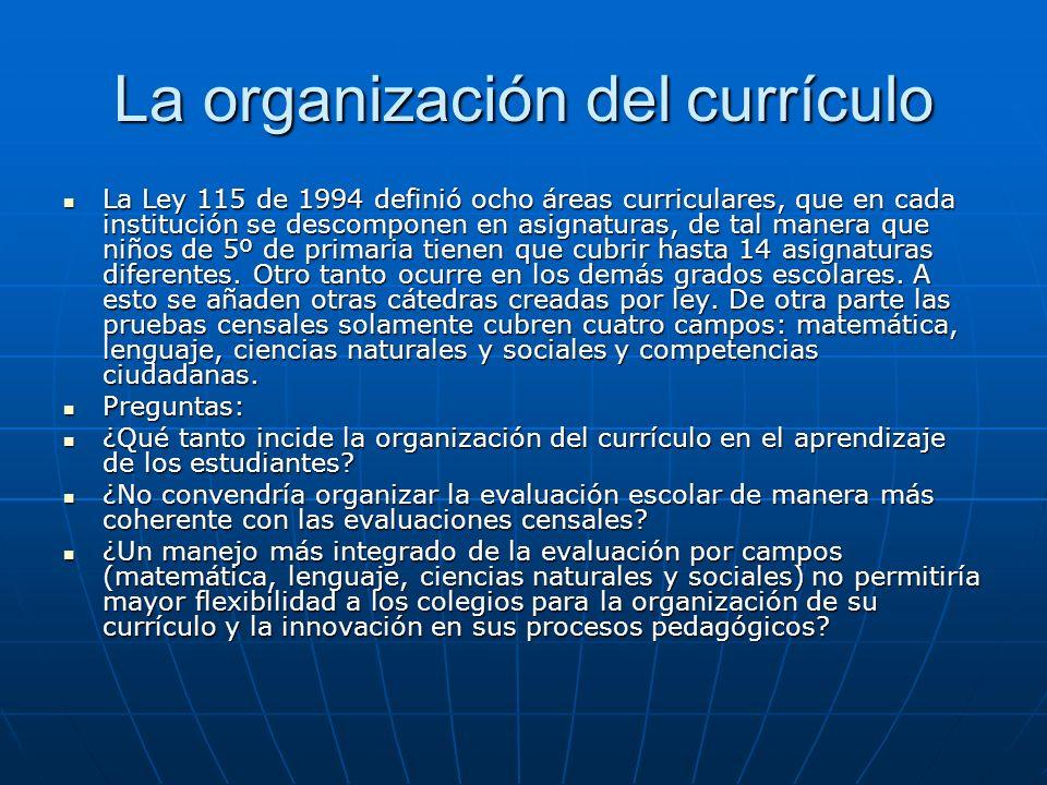 La organización del currículo
