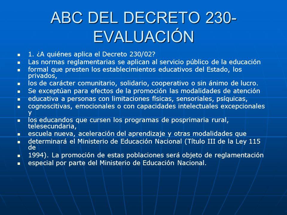 ABC DEL DECRETO 230-EVALUACIÓN