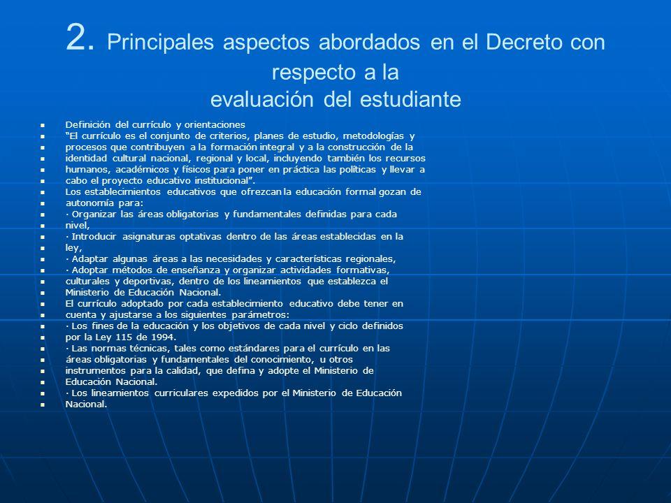 2. Principales aspectos abordados en el Decreto con respecto a la evaluación del estudiante