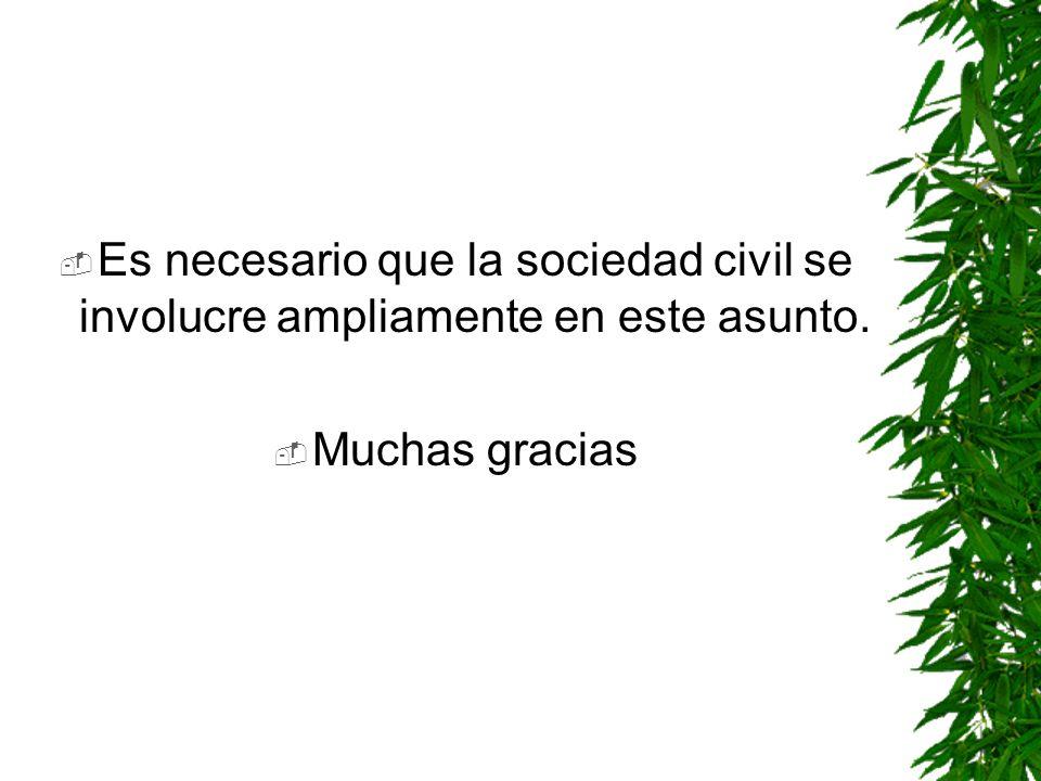 Es necesario que la sociedad civil se involucre ampliamente en este asunto.