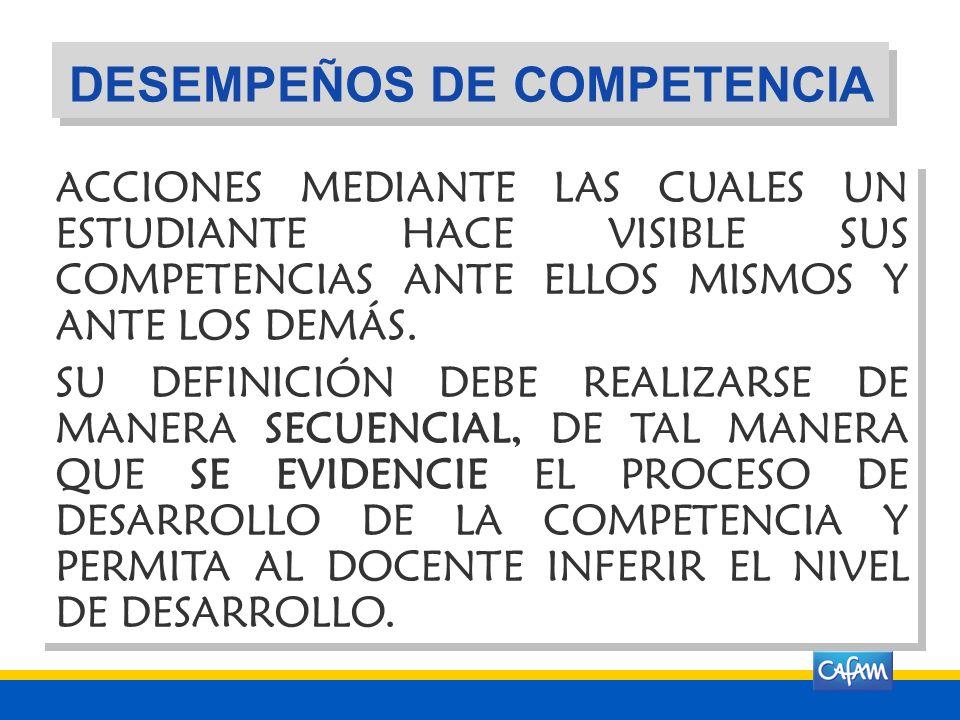 DESEMPEÑOS DE COMPETENCIA