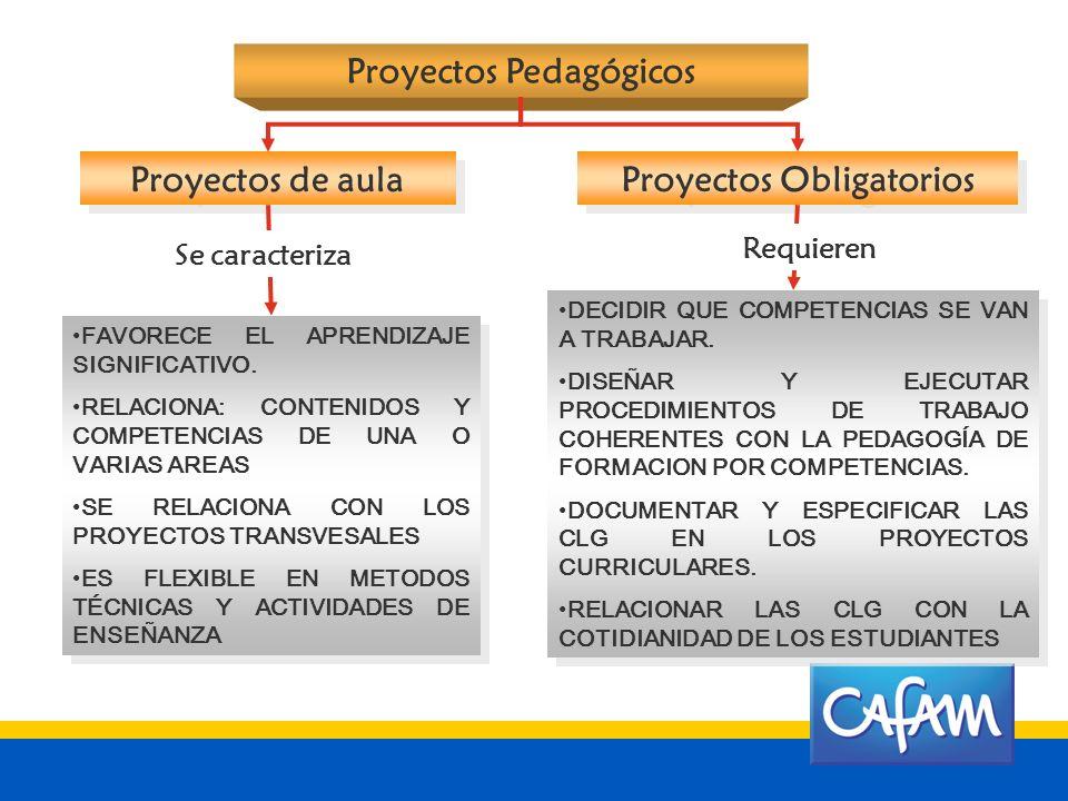 Proyectos Pedagógicos Proyectos Obligatorios