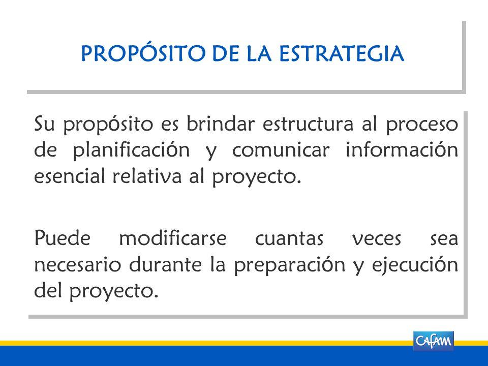 PROPÓSITO DE LA ESTRATEGIA