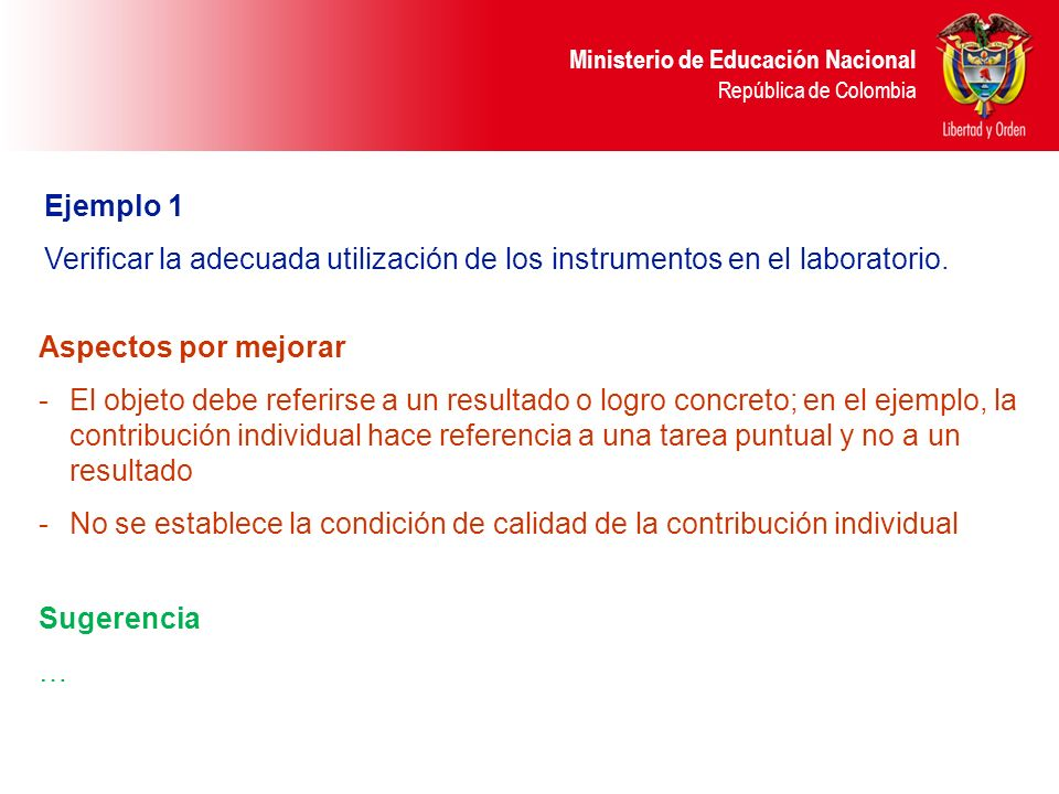 Ejemplo 1 Verificar la adecuada utilización de los instrumentos en el laboratorio. Aspectos por mejorar.