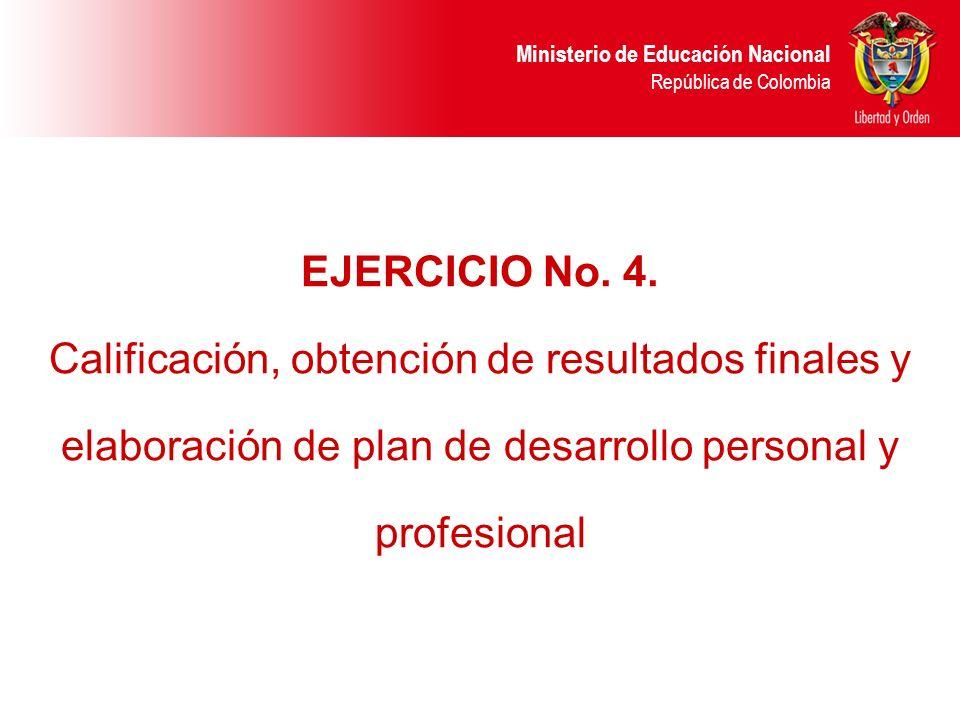 EJERCICIO No. 4. Calificación, obtención de resultados finales y elaboración de plan de desarrollo personal y profesional.