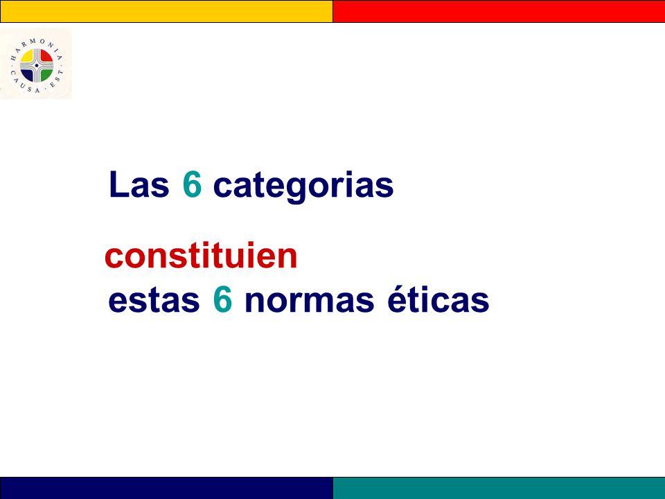Las 6 categorias constituien estas 6 normas éticas