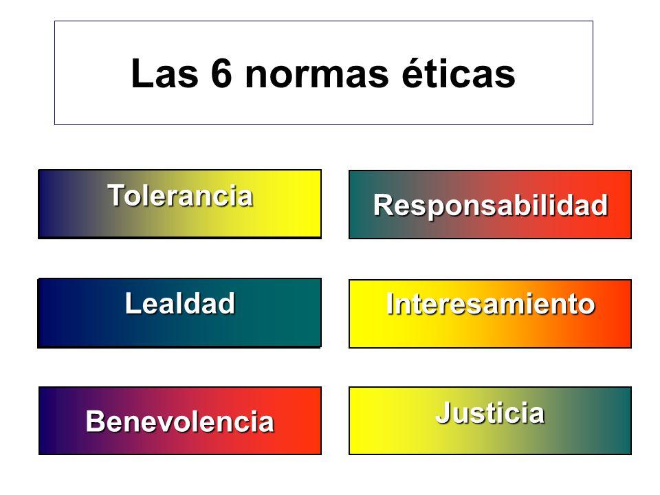 Las 6 normas éticas Toleranz Tolerancia Responsabilidad Gerechtigkeit